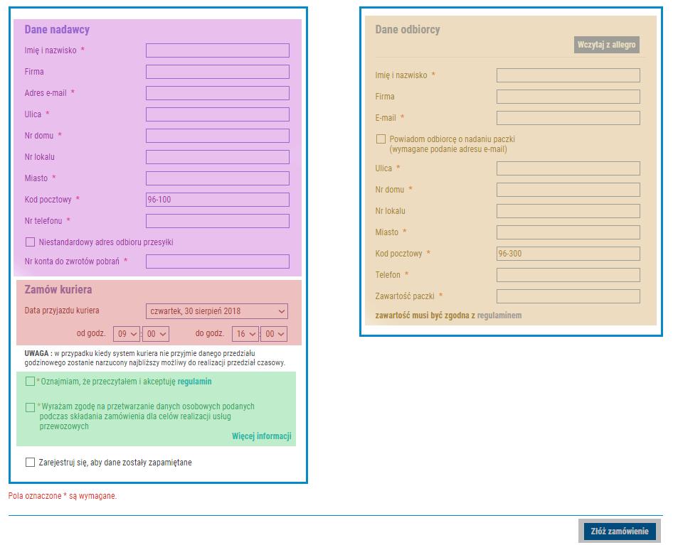 dane adresowe przesyłki kurierskiej