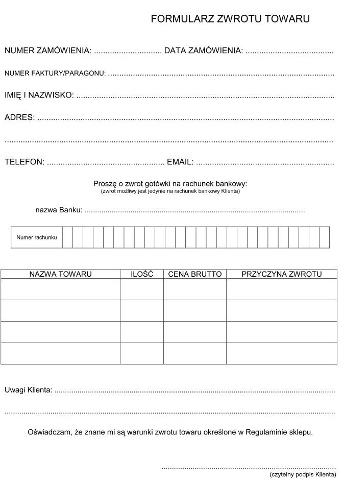 Andżela sklep formularz zwrotu