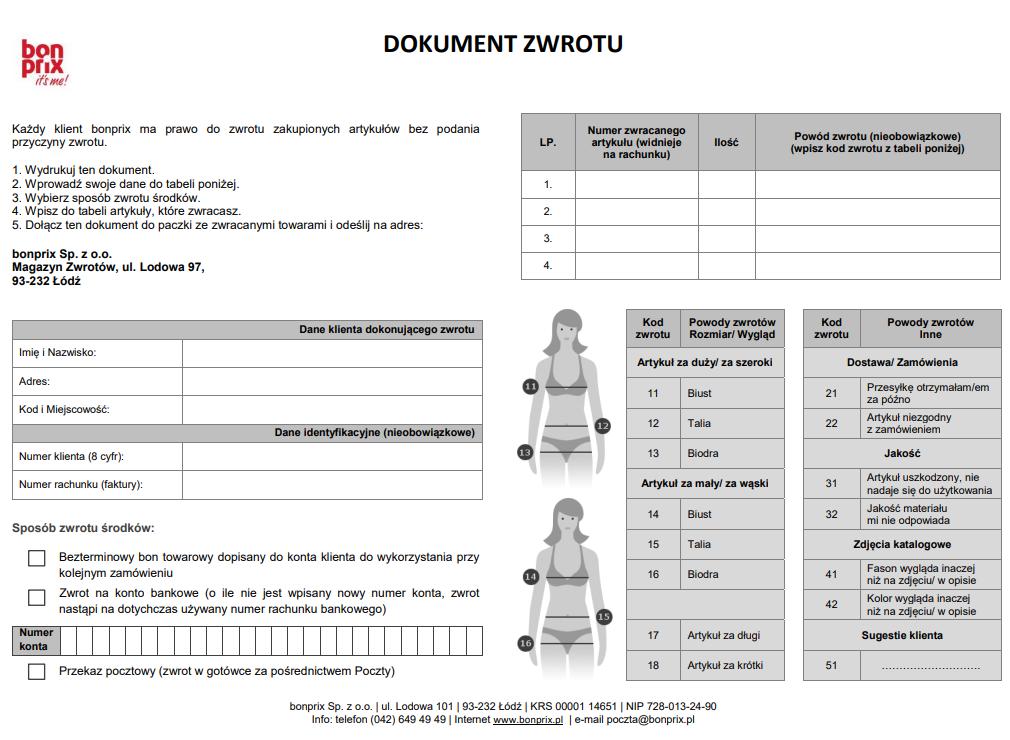 bonprix formularz odesłania zwrotu towaru zamówienia